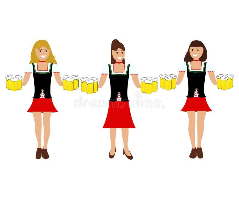 Девушки с пивом на Oktoberfest иллюстрация штока