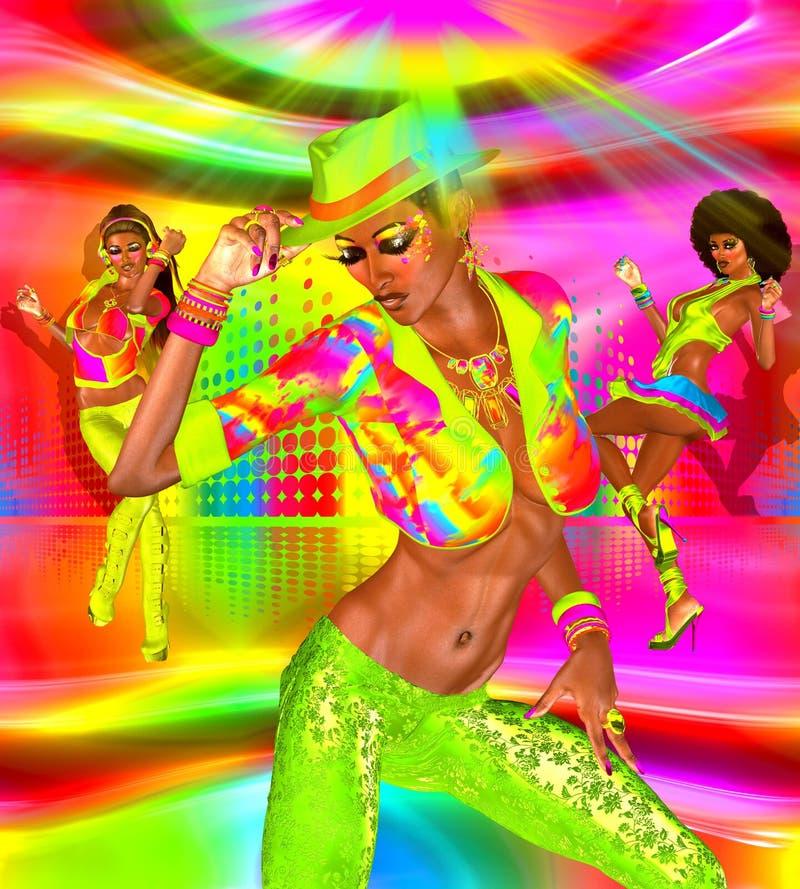 Девушки танцев диско на красочных предпосылке и танцплощадке бесплатная иллюстрация