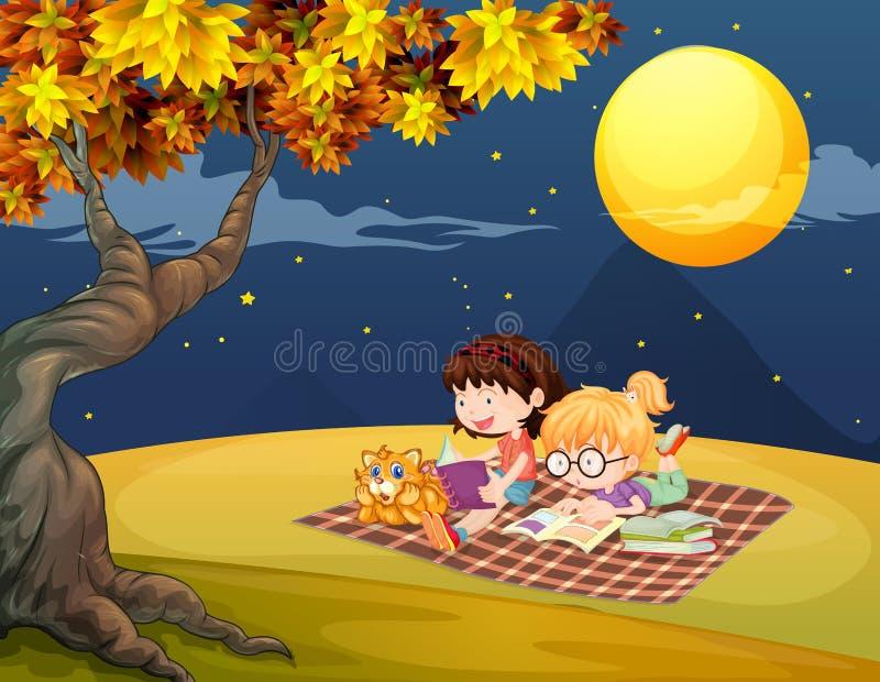 Девушки читая под ярким полнолунием бесплатная иллюстрация