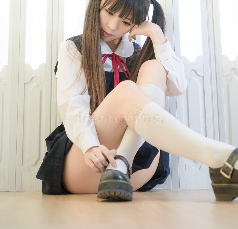 Девушки школы японского стиля женщина милой крытая домашняя сексуальная стоковые фото