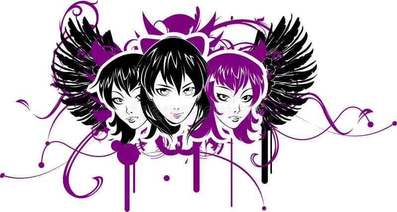 девушки 3 emo иллюстрация вектора