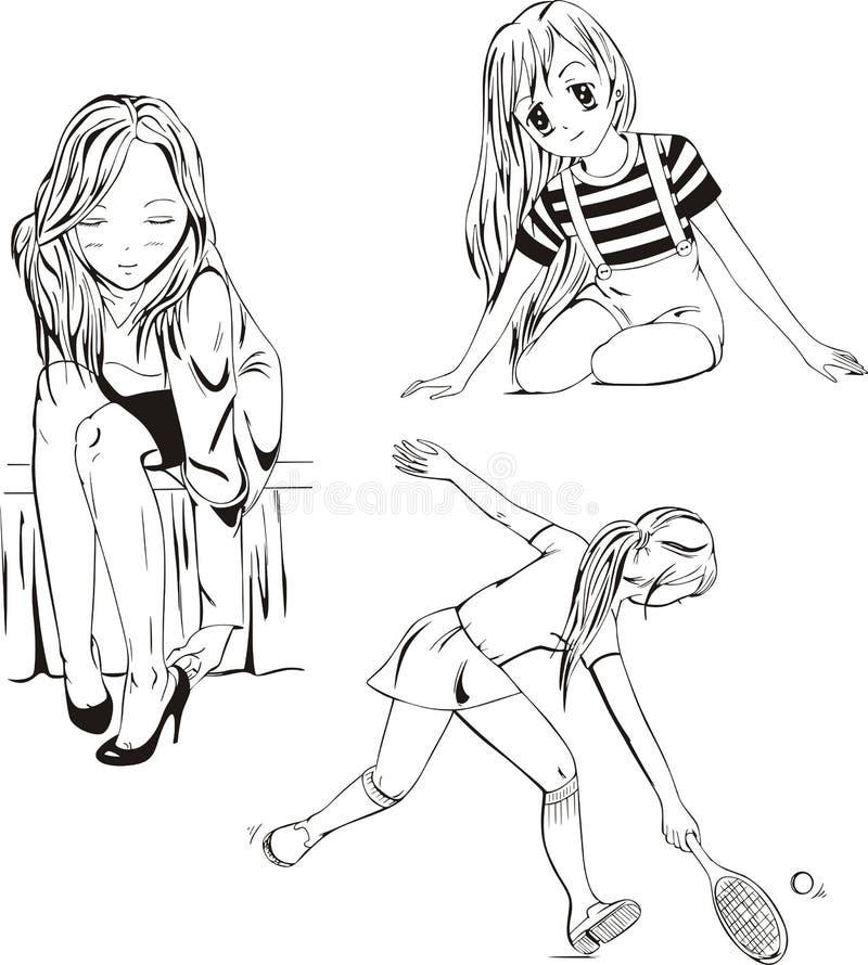 Девушки Anime иллюстрация вектора