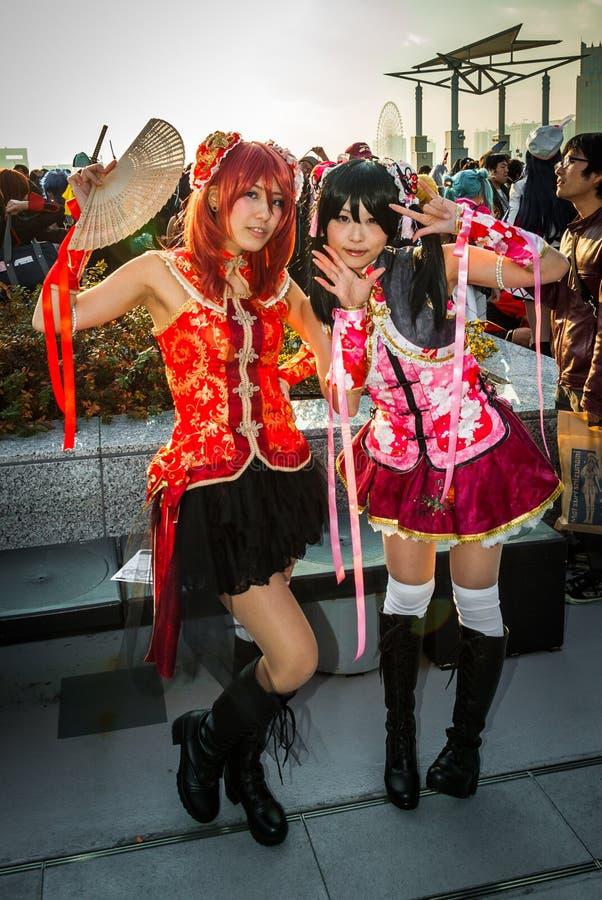 Девушки Cosplay в токио стоковая фотография