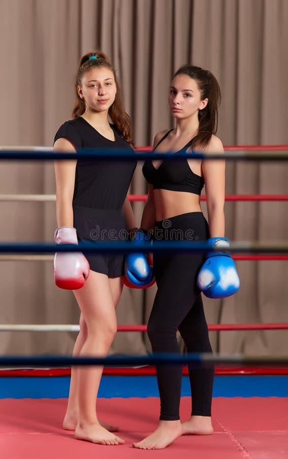 Девушки Kickboxing после шпата стоковое изображение