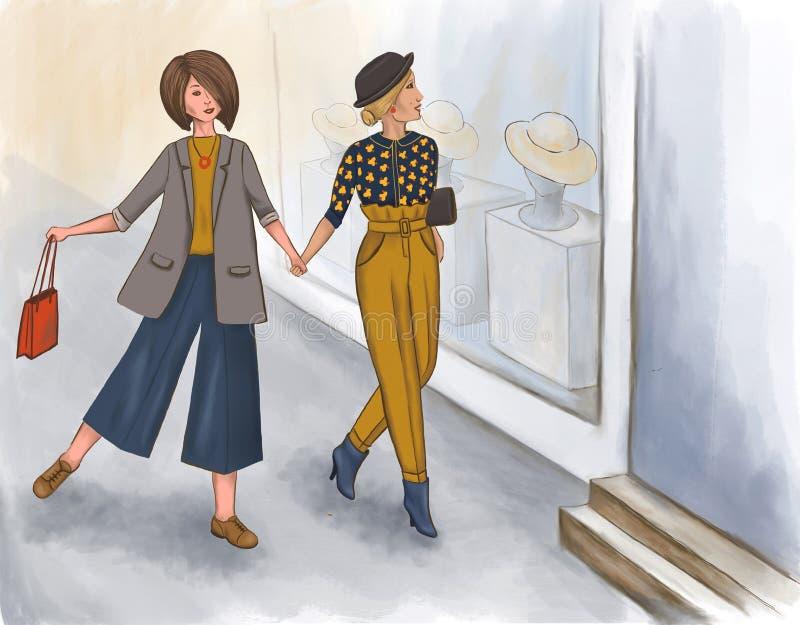 Девушки Yang ходят по магазинам летом иллюстрация штока