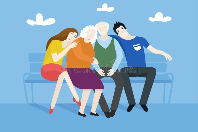 Деды при их внуки сидя на стенде - vector плоская иллюстрация стиля бесплатная иллюстрация