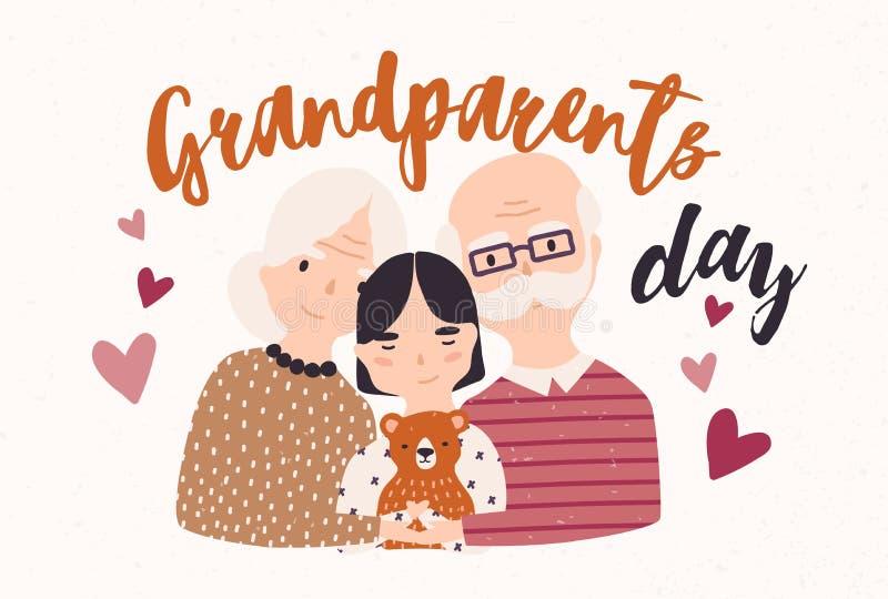 Дед и бабушка прижимаясь с внуком Обнимать дедушку, бабушку и внучку любить семьи бесплатная иллюстрация