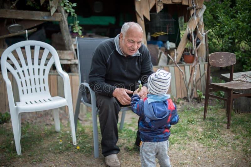 Дед и его внук стоковое фото rf