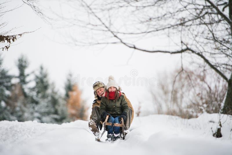 Дед и малая девушка sledging на зимний день стоковые фотографии rf