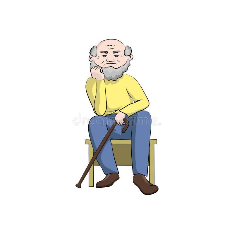 Дед с тросточкой сидит и думает абстрактный вектор иллюстрации рыб цвета бесплатная иллюстрация