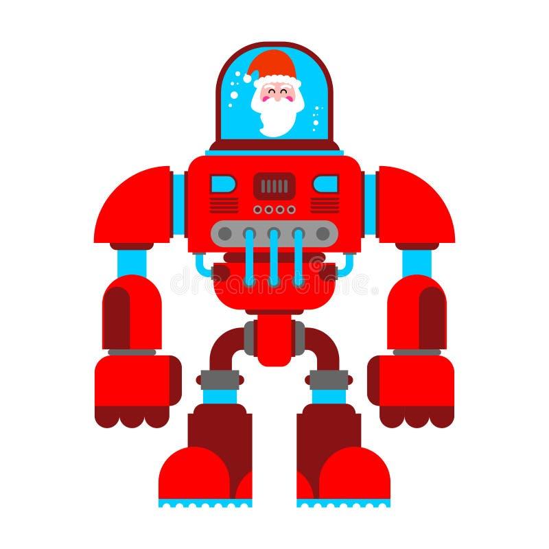Дед экзоскелета робота Санты Будущее ратника киборга Клауса иллюстрация вектора