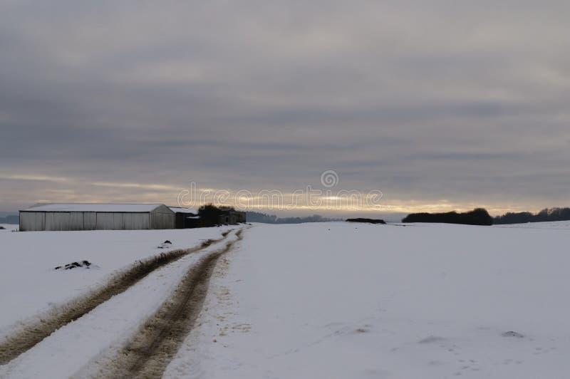 дезертированная дорога снежная стоковое фото