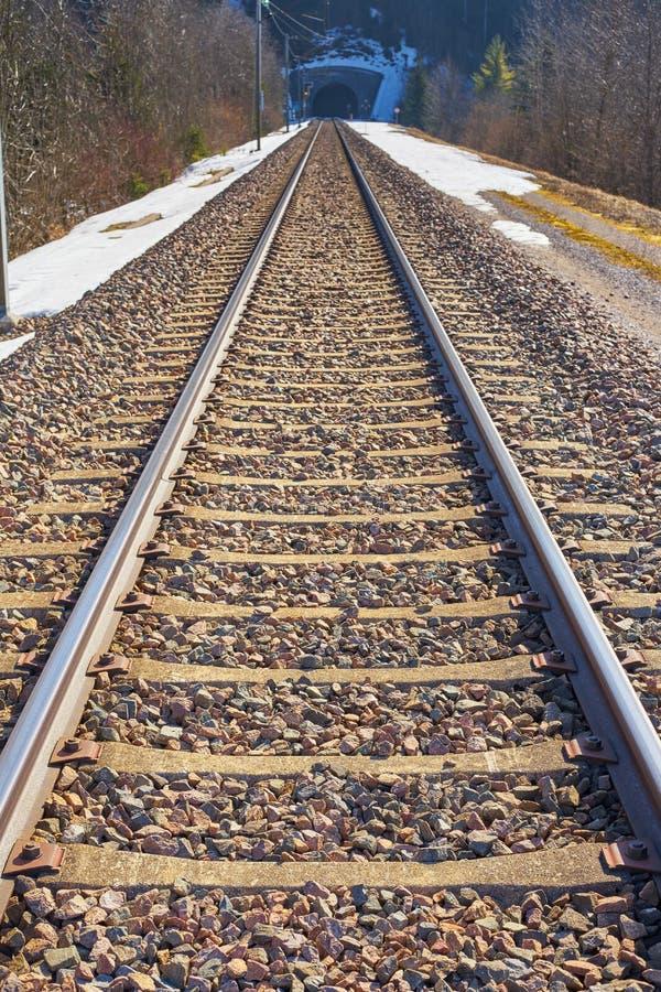 Дезертированная железная дорога полностью… с тоннелем на заднем плане стоковые изображения