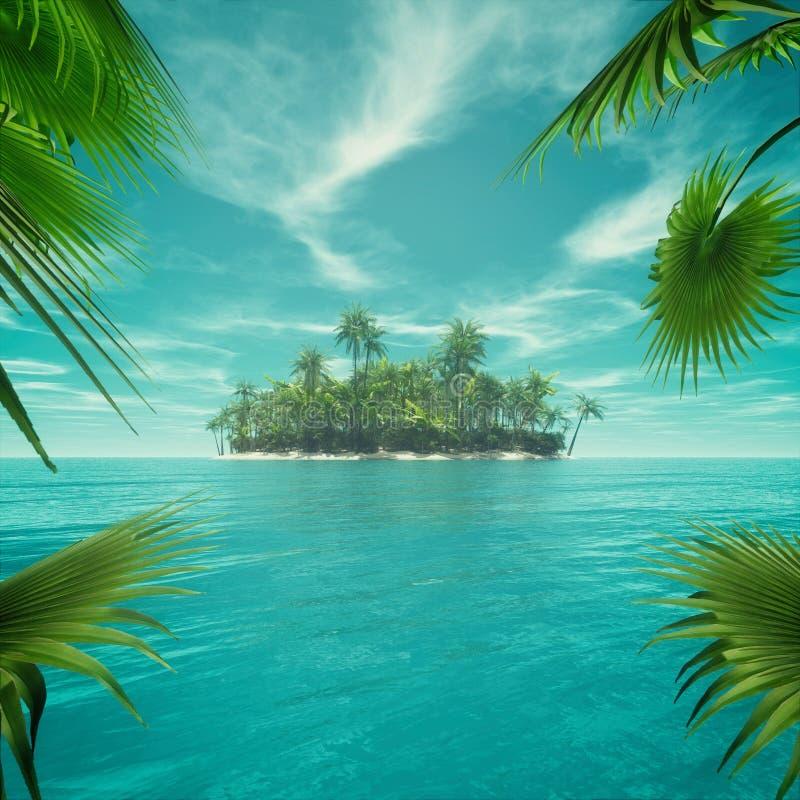 Дезертированный тропический рай иллюстрация вектора