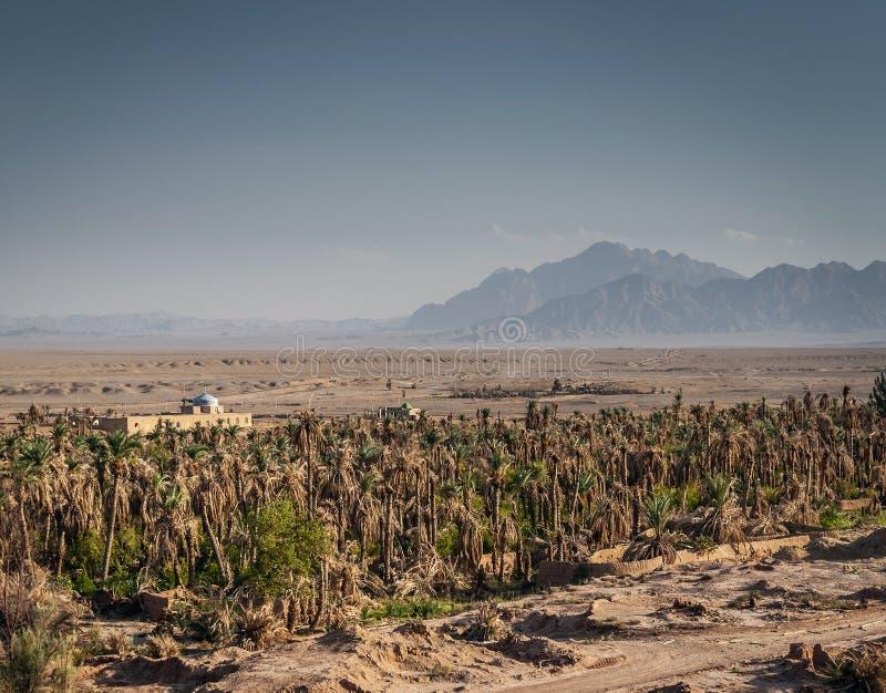 Дезертируйте взгляд ландшафта в оазисе южном Иране garmeh стоковая фотография