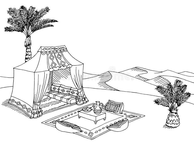 Дезертируйте иллюстрацию эскиза ландшафта шатра графическую черную белую иллюстрация вектора
