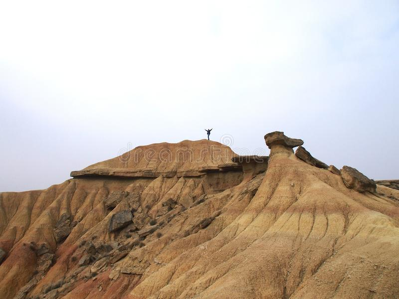 Дезертируйте ландшафт и утесы в Bardenas de Наварре стоковое изображение