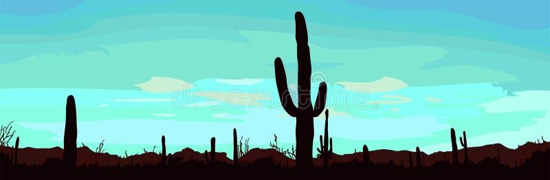 Дезертируйте ландшафт с кактусом. иллюстрация штока