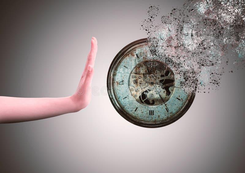Дезинтегрировать часов, сопротивляясь течению времени стоковые фото