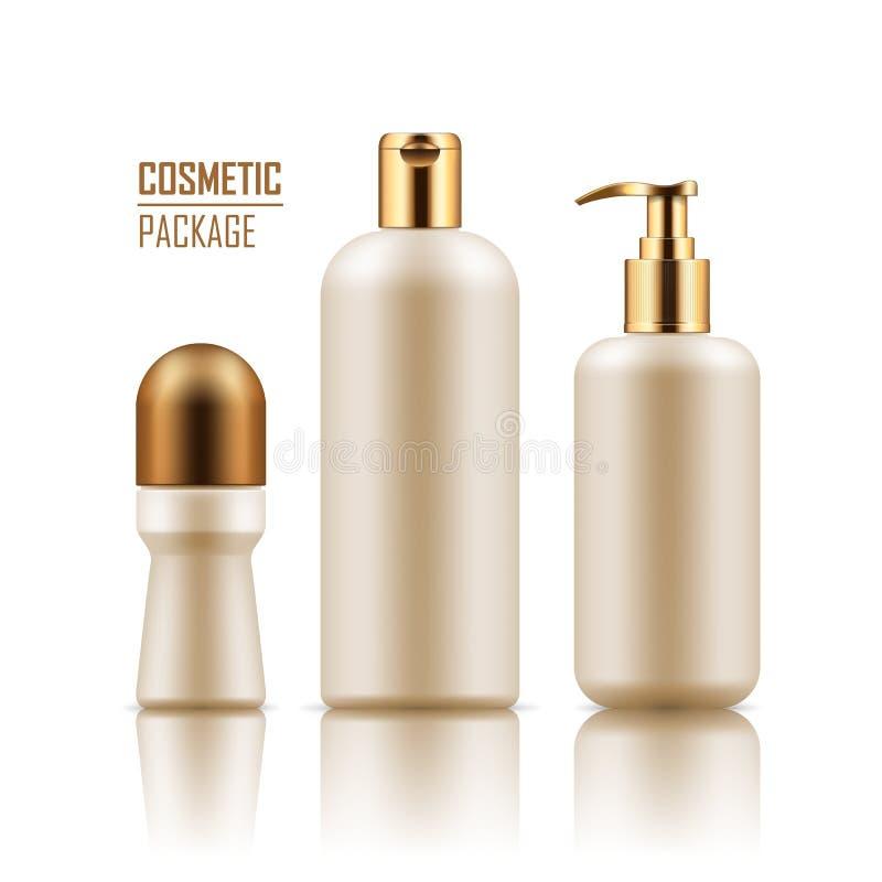 Дезодорант, шампунь, бутылка сливк тела иллюстрация вектора