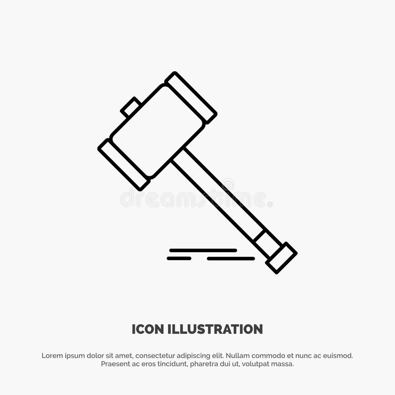Действие, аукцион, суд, молоток, молоток, закон, законная линия вектор значка бесплатная иллюстрация