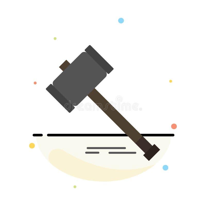 Действие, аукцион, суд, молоток, молоток, закон, законный абстрактный плоский шаблон значка цвета иллюстрация штока