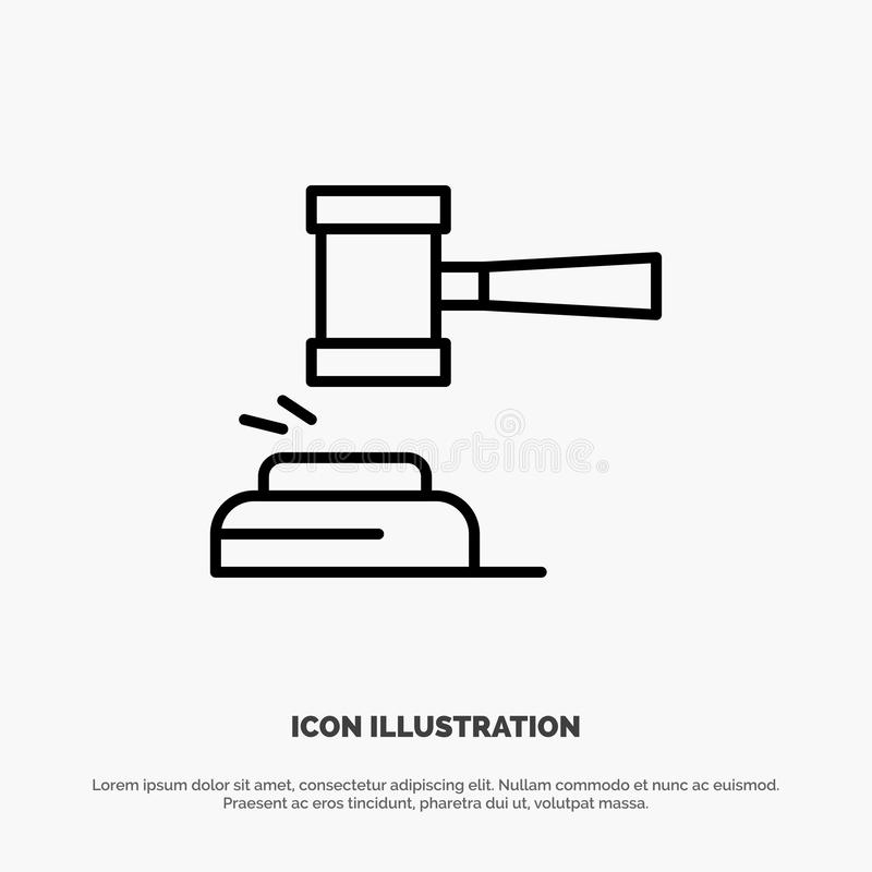 Действие, аукцион, суд, молоток, молоток, судья, закон, законная линия вектор значка иллюстрация штока