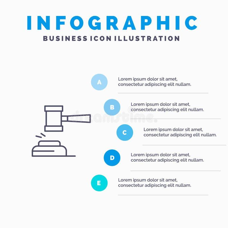 Действие, аукцион, суд, молоток, молоток, судья, закон, законная линия значок с предпосылкой infographics представления 5 шагов иллюстрация штока
