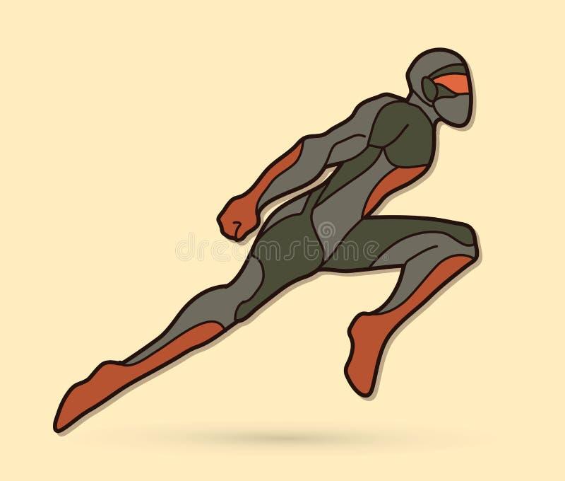 Действие летания робота Ninja супергероя, супергерой шаржа бесплатная иллюстрация
