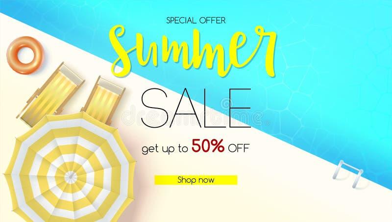 Действие продаж, предложение лета Получите скидку до 50 процентов Взгляд сверху бассейна открытого моря с deckchairs, солнца иллюстрация штока