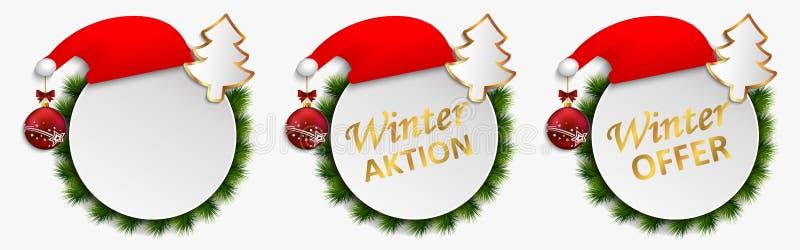 Действие рождества предлагает изолированные кнопки, действие шкалы вектора скидки зимы знамени Установите ключей с подарками - пр иллюстрация вектора