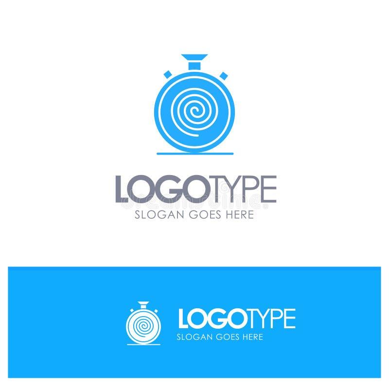 Действие, цикл, подача, безостановочный пробег, медленный голубой твердый логотип с местом для слогана иллюстрация штока