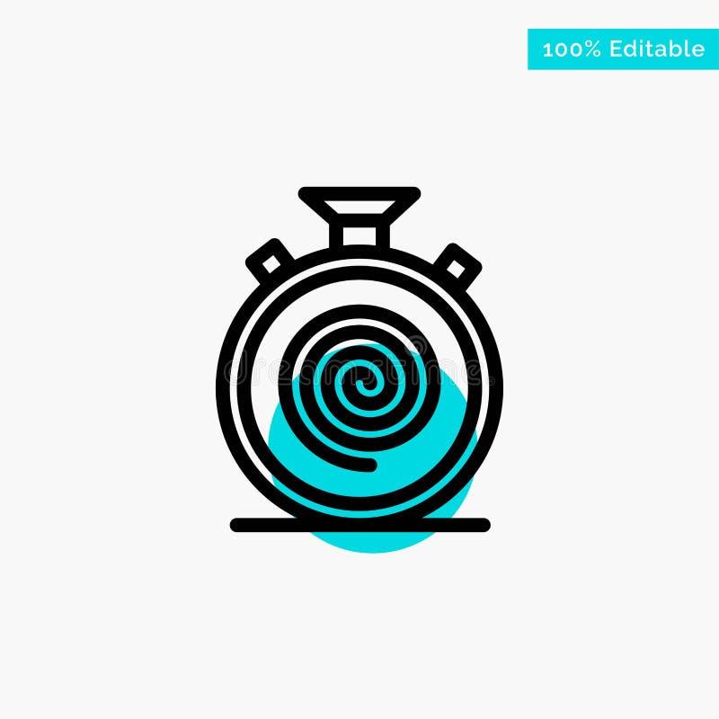 Действие, цикл, подача, безостановочный пробег, медленный значок вектора пункта круга самого интересного бирюзы иллюстрация штока