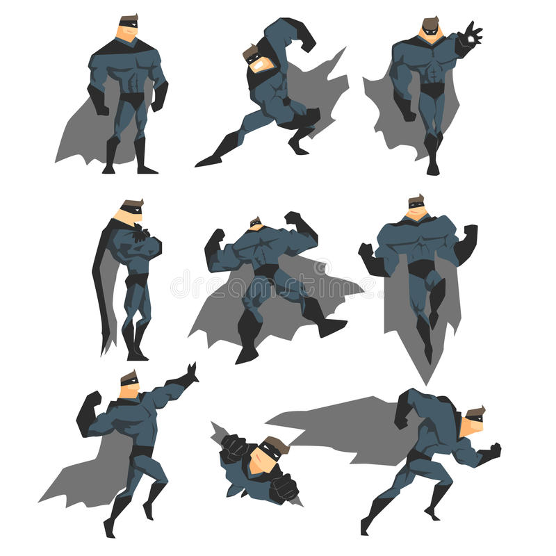 Действия супергероя установленные в стиль комиксов также вектор иллюстрации притяжки corel иллюстрация штока