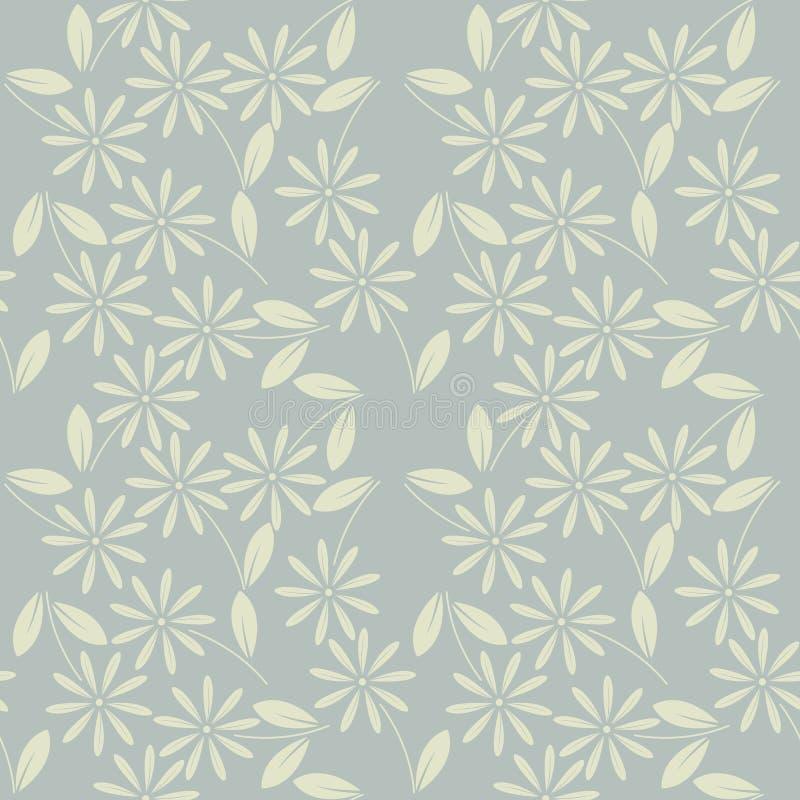 Декоративная безшовная картина с цветками и листьями стоцвета иллюстрация вектора