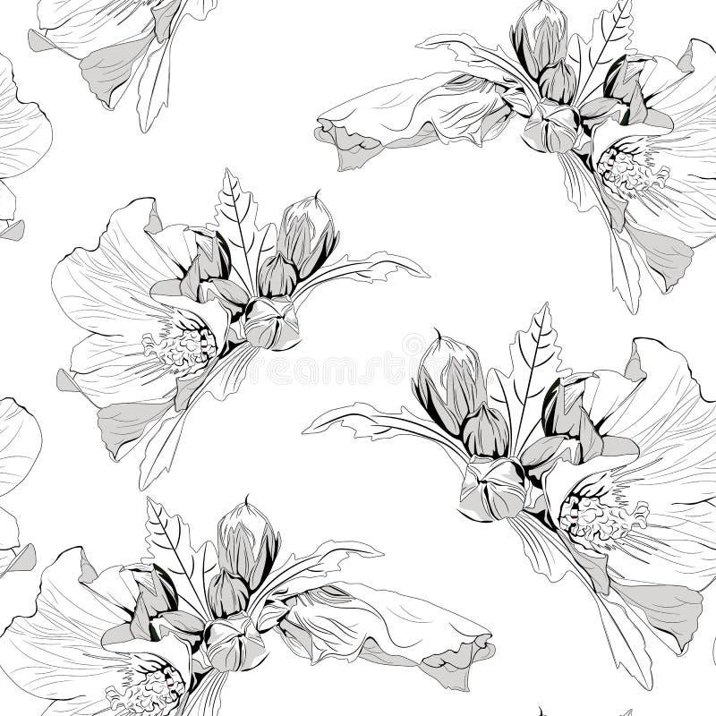 Декоративная безшовная картина с цветками и листьями гибискуса чернил нарисованными вручную тропическими иллюстрация вектора