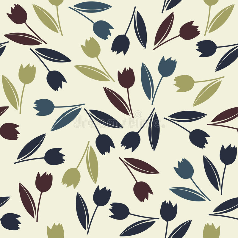 Декоративная бесконечная картина с красочными тюльпанами весны цветет иллюстрация штока