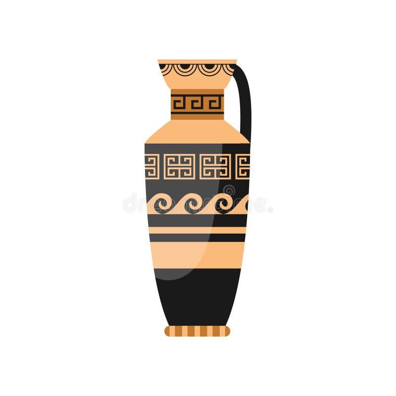 Декоративная ваза древнегреческого с орнаментом спирали волны иллюстрация штока
