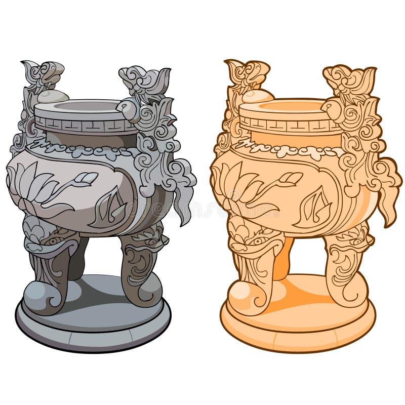 Декоративная ваза с ногами в азиатском стиле иллюстрация вектора
