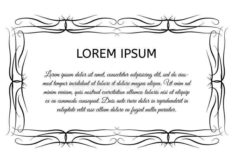 Декоративная винтажная горизонтальная рамка с местом для вашего текста иллюстрация штока