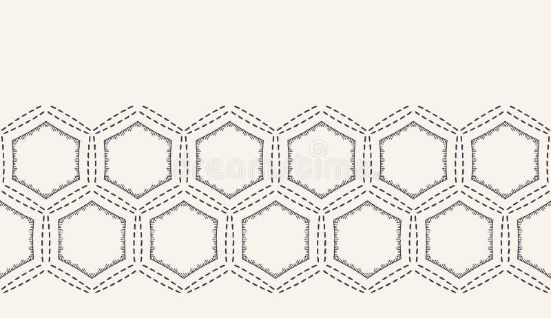 Декоративная граница вышивки идущим стежком Викторианская картина needlework шестиугольника Лента ткани руки вычерченная орнамент иллюстрация вектора