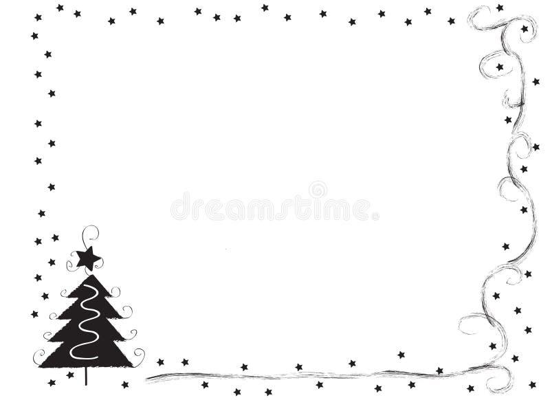 Декоративная граница рамки с рождественской елкой и звездами иллюстрация вектора