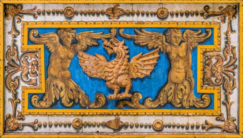 Декоративная деталь с драконом семьи Borghese в потолке базилики Сан Sebastiano Fuori Le Мураы, в Риме, Италия стоковая фотография