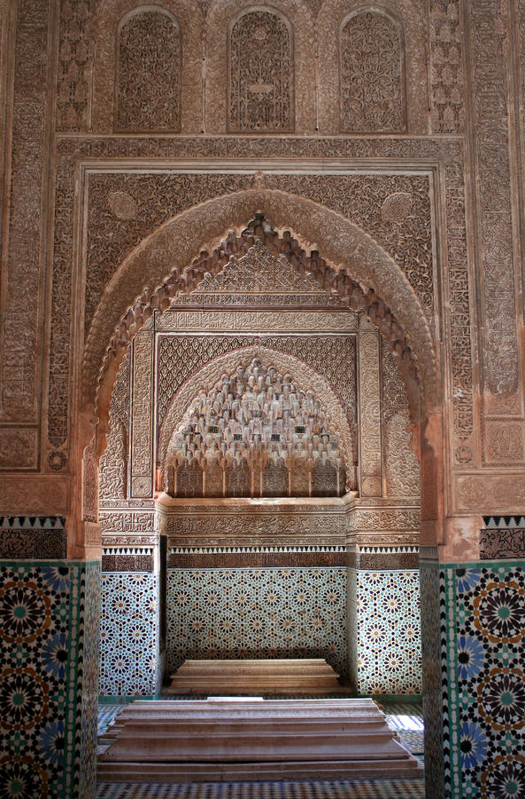 Декоративная деталь на усыпальницах Saadian стоковое фото