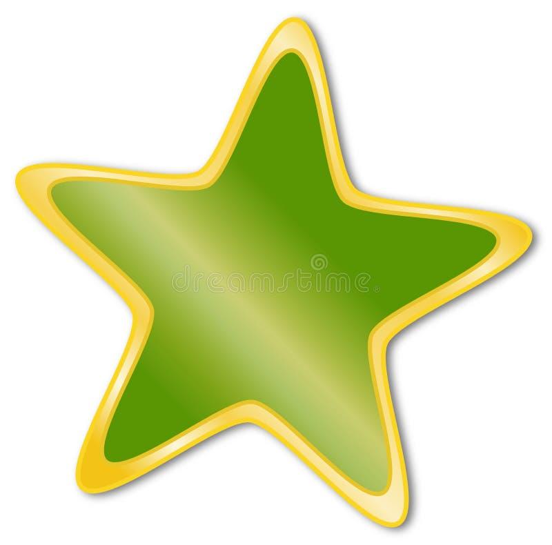 Декоративная звезда с зеленой и золотой рамкой иллюстрация штока