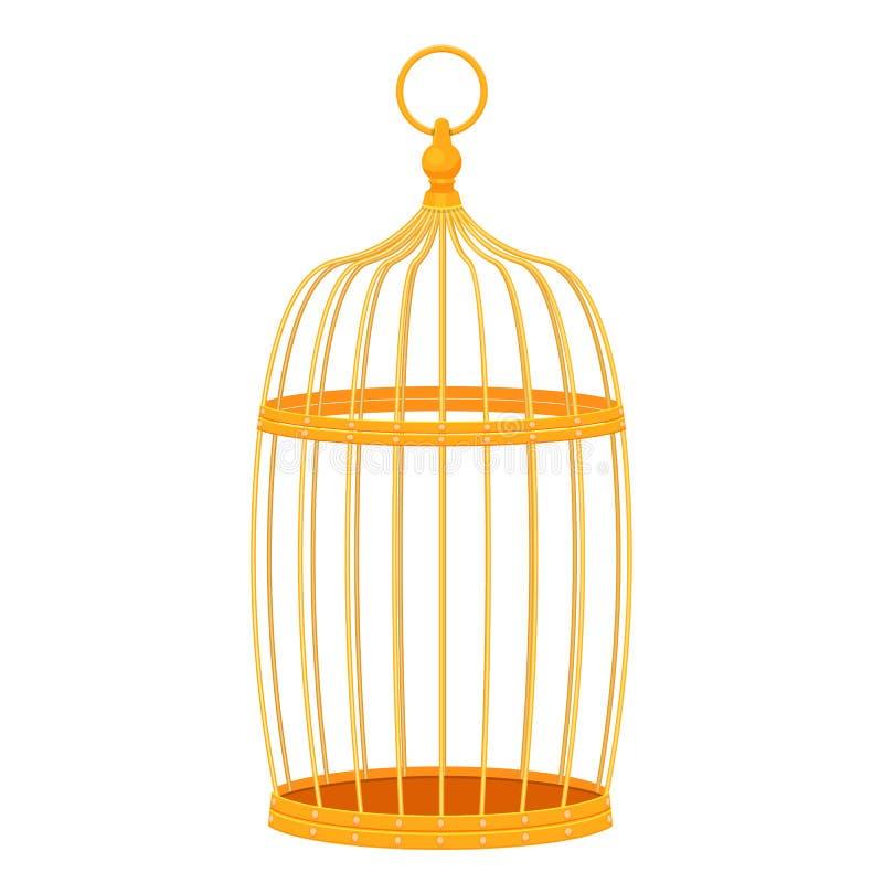 Декоративная золотая иллюстрация вектора клетки птицы изолированная на белой предпосылке иллюстрация вектора