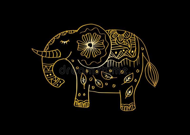 Декоративная иллюстрация слона Индийская тема с орнаментами иллюстрация вектора