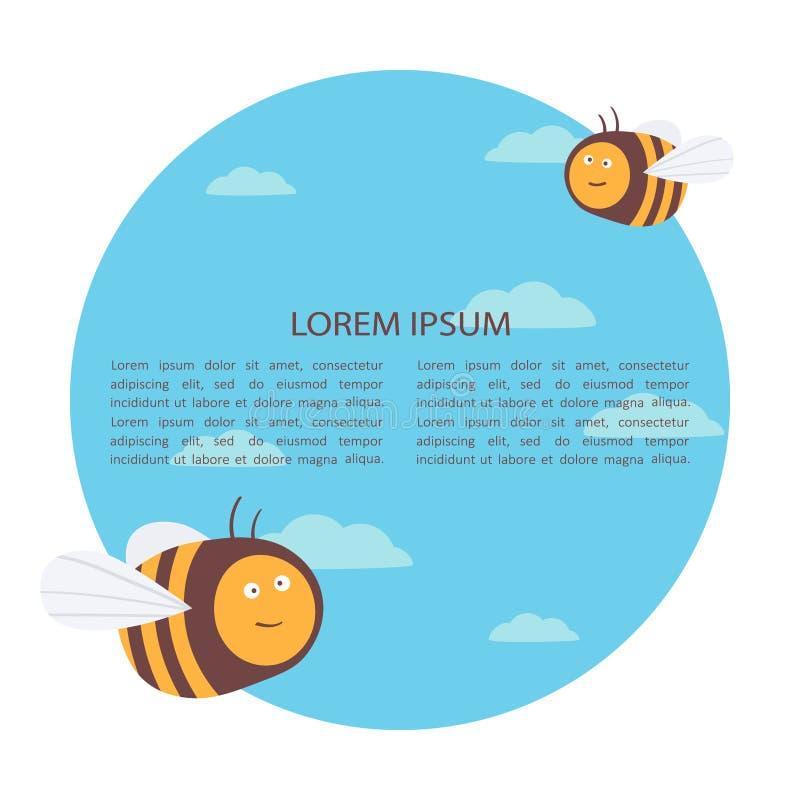 Декоративная иллюстрация со счастливыми пчелами и место для текста Красочные предпосылка, насекомые и небо иллюстрация вектора