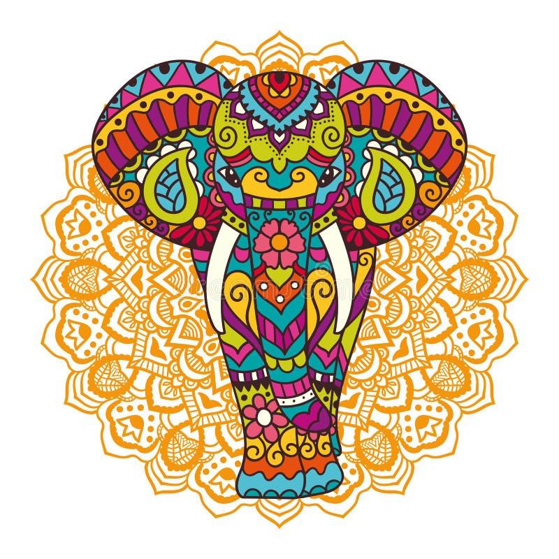 Декоративная иллюстрация слона иллюстрация вектора