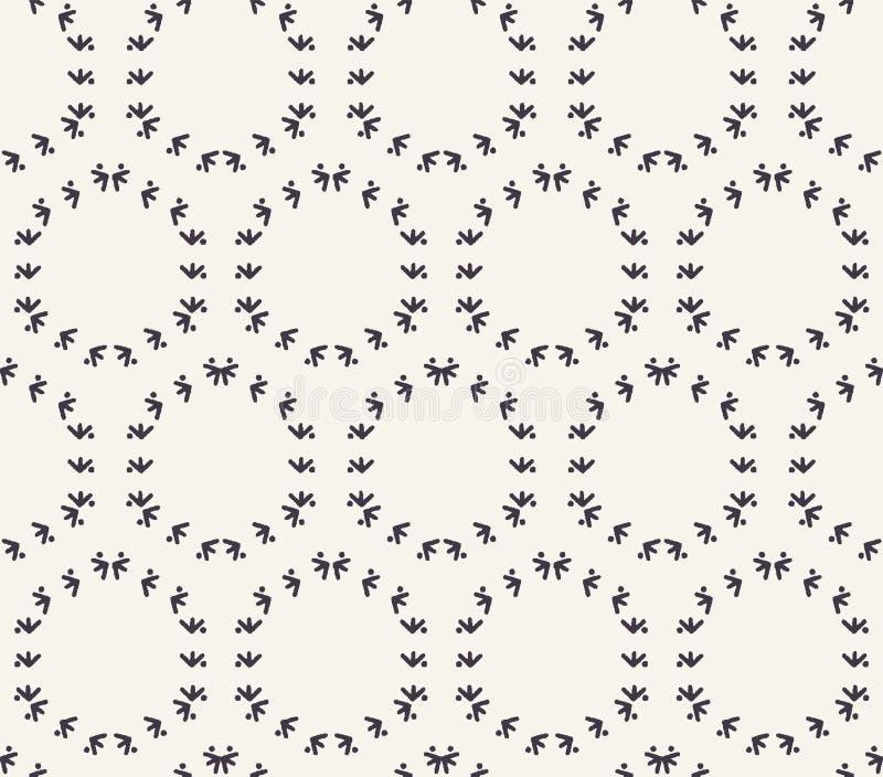 Декоративная картина вышивки стежком папоротника Needlework нашивок решетки круга Печать ткани руки вычерченная орнаментальная Сл иллюстрация штока